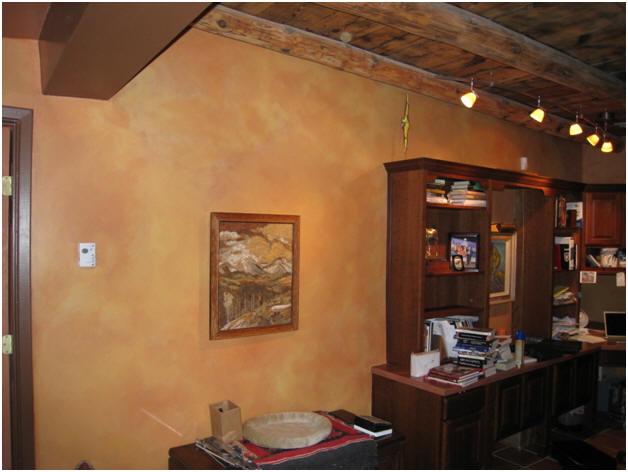 Two-color Aged leather finish in Bronitsky home library, Bernalillo, NM